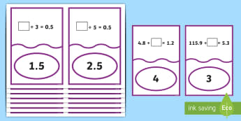 Dividing Decimals Missing Number Matching Cards - ACMNA129, Divide Decimal Numbers, Decimal Numbers, Decimal Number Division, Divide Decimals By Whole