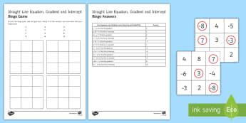 Straight Line Equation Gradient and Intercept Bingo - gradient, graph, intercept, straight line graph, linear, equation, bingo.