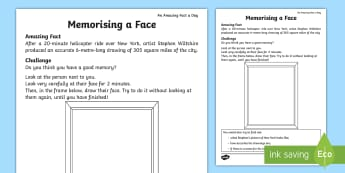 Memorising a Face Activity Sheet - Amazing Fact Of The Day, activity sheets, powerpoint, starter, worksheet, morning activity, May, mem