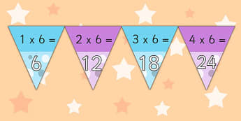 6 Times Table Bunting - times table, bunting, display, multiply