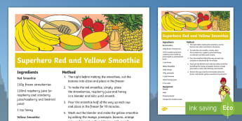 Superhero Red and Yellow Smoothie Recipe - Superheroes, superhero, iron man, flash, drinks, cooking, cookery club, marvel