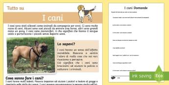 I Cani Lettura Differenziata - i, cani, lettura, comprensiva, differenziata, italiana, italian, leggere, esercizio