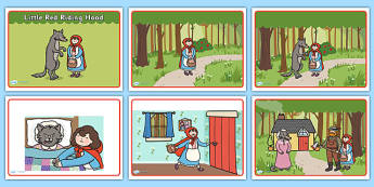 Little Red Riding Hood Story Sequencing - Little Red Riding Hood, traditional tales, tale, fairy tale, Wolf, Grandma, woodcutter, bed, cottage, forest, what big teeth you have
