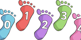Numbers 0-10 on Footprints - Footprint, hand, foot, Foundation Numeracy, Number recognition, Number flashcards, 0-10, A4, display, my body, ourselves