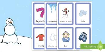 Tarjetas de emparejar: El invierno - juego, emparejar, vocabulario invierno, las estaciones, ,Spanish