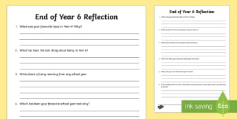 End of Year 6 Reflection Activity Sheet - Year 6 Leavers Activity