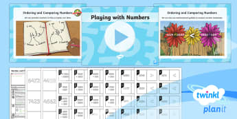PlanIt Y4 Number and Place Value Lesson Pack Order and Compare (3)  - greater than, less than, mathematical symbols, dominoes,
