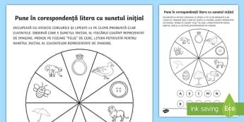 Pune în corespondență litera cu sunetul inițial Activitate - litera, sunet, cerc, corespondență, cleme, joc, comunicare,Romanian