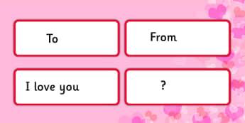 Valentine's Card Word Cards - valentine's day, valentine's card, valentine, card, word cards, word