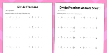 Year 6 Divide Fractions Activity Sheet - maths, ks2, upper key stage 2, sats, , worksheet