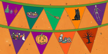 Halloween Bunting - Halloween Bunting, bunting, flag, Halloween, pumpkin , witch, bat, scary, black cat, mummy, grave stone, cauldron, broomstick, haunted house, potion, Hallowe'en