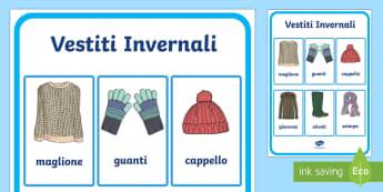 Vocaboli Vestiti Invernali Poster - Vestiti, invernali, inverno, vocaboli, poster, invernale