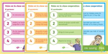 Pósters: Roles del grupo de trabajo cooperativo - Tercer ciclo - trabajo cooperativo, clase, grupo, portavoz, coordinador, secretario, Supervisor,Spanish