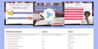 Identifying a Determiner Lesson Teaching Pack - Identifying a Determiner Lesson Teaching Pack - pack, teaching, teeach, activity sheet, worksheet, p