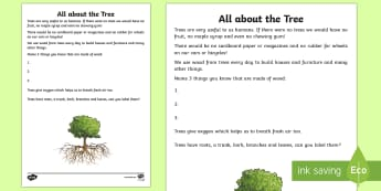 All about the Tree Read and Draw Activity Sheet - World Around Us KS2 - Northern Ireland, plants, trees, interdependence, label, parts of a tree, part