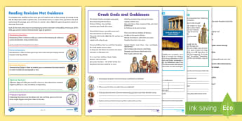 Year 5 Reading Revision Activity Mat Pack 4 - fiction, comprehension, inference, deduction, retrieval, summarising, ancient greeks, myths, gods, g