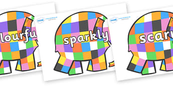 Wow Words on Patchwork Elephant to Support Teaching on Elmer - Wow words, adjectives, VCOP, describing, Wow, display, poster, wow display, tasty, scary, ugly, beautiful, colourful sharp, bouncy