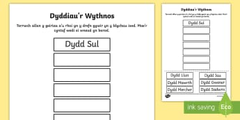Taflen Torri a Gludo Dyddiau'r Wythnos - Dyddiau'r Wythnos, Days of the Week.,Welsh, diwrnodau'r wythnos
