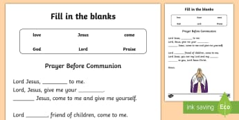Prayer Before Communion Fill in the blanks Activity Sheet - Confession & First Communion Resources,Irish,worksheet