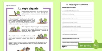 La Rapa Gigante Lettura Differenziata e Comprensiva Attività - la, rapa, gigante, favole, fiaba, tradizionale, tradizionali, italiano, italian