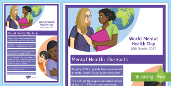 Mental Health Statistics A4 Display Poster - Awareness day, emotions, counselling, support, SEN, anxiety, depression, dementia, suicide