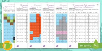 Mosaico de multiplicación: El rinoceronte Rafa - Multiplication, mosaic, tablas de multiplicar, pitón, matemáticas, colorear, patrón,Spanish
