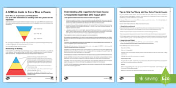 Access arrangements Resource Pack - sen, dyslexia, extra time, help, precautions
