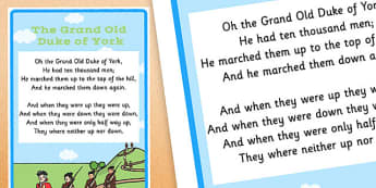 The Grand Old Duke of York Nursery Rhyme Poster - rhymes, display