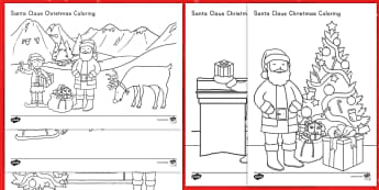 Santa Claus Christmas Coloring Activity Sheets - Christmas, Santa, color, coloring, jolly, activity, art, worksheets