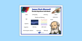 Scottish Significant Individuals James Clerk Maxwell Word Mat - CfE, significant individuals, science, maths, engineering, electromagnetic radiation