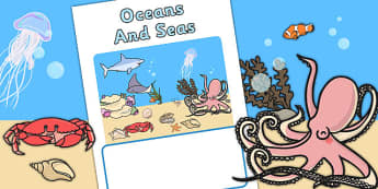 Editable Seas And Oceans Book Cover (Under the Sea) - sea, ocean, books, reading