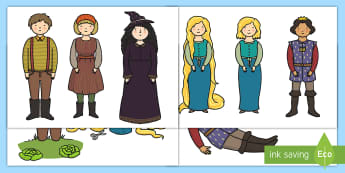 Rapunzel Stick Puppets - Rapunzel, prince, witch, tower, long hair, fairytale, traditional tale, Brothers Grimm, tower, woods, forest, prince, let down your hair, story, story sequencing, stick puppet