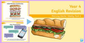 Year 4 English Revision Morning Starter Weekly PowerPoint Pack 6 - Spag, Reading, Writing, Sentences, Filler, morning task