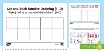 Winter Themed Cut and Stick Number Ordering Sheets English/Polish - Winter Themed Cut and Stick Number Ordering Sheets - winter, cut, stick, number, ordering, wnter, wi