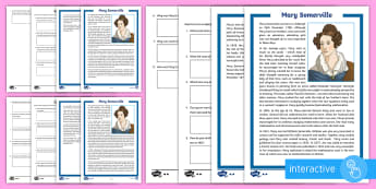 Scottish Scientist Mary Somerville Differentiated Comprehension Go Respond Activity Sheets - CfE, science, women, woman, physics, geography, planets, people in past societies, Scottish, Scotlan