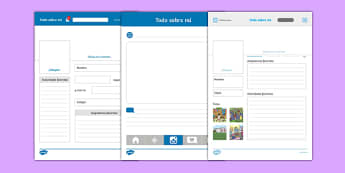 Todo sobre mí All About Me Social Media Profile Writing Template Spanish - spanish, Instagram, Facebook, All About Me, Social Media, Selfie, Twitter, tweet