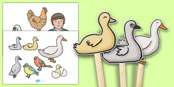 Ugly Duckling Stick Puppets - ugly duckling, stick puppet, puppet