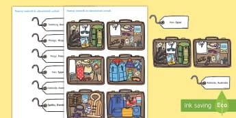 Dopasowywanka Walizki na różną pogodę - walizka, wakacje, geografia, kraje, państwa, pakowanie, pogoda, pory roku, pora, przyroda, ubrania,
