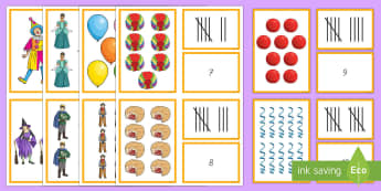 Fasching: Zahlen Bilder Strichlisten Zuordnen Spiel - Karneval, Fasching,Fastnacht, Memory Spiel, Zahlen 1 bis 10,Erstes Zählen, Mathematik, 1./2. Klasse