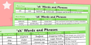 Sh Word List - sh sound, word list, word, list, sounds, syllables