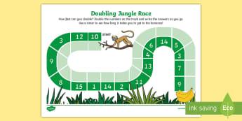 Doubling Jungle Race Activity Sheet - Requests KS1, maths, doubles, double, x 2, 2 times table, race, maths game, jungle, monkeys