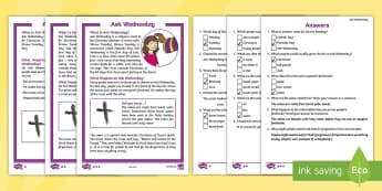 KS1 Ash Wednesday Differentiated Comprehension Go Respond  Activity Sheets - KS1, key stage 1, year 1, yr 1, year one, year 2, yr 2, year two, reading, reading comprehension, in