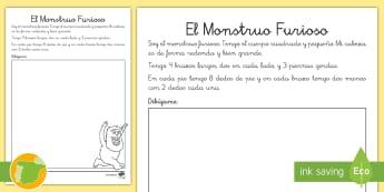 Ficha de actividad: Dibuja el monstruo  - comprehensión, lectora, castellano, monstruo, el cuerpo,Spanish