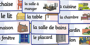 French Parts of House Words Flashcards - french house, flashcard