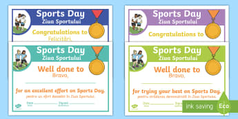 Sports Day Effort Certificates English/Romanian - Sports Day Effort Certificates - sports day, effort, certificates, certficates, certifcates, cerific