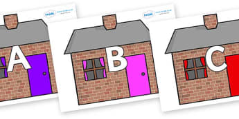 A-Z Alphabet on Brick houses - A-Z, A4, display, Alphabet frieze, Display letters, Letter posters, A-Z letters, Alphabet flashcards