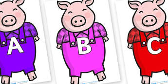 A-Z Alphabet on Pigs - A-Z, A4, display, Alphabet frieze, Display letters, Letter posters, A-Z letters, Alphabet flashcards