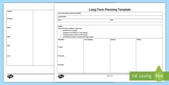 Long Term Planning Template - yearly scheme of work, ROI, curriculum,Irish
