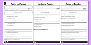 Active to Passive Differentiated Activity Sheet Pack - GPS, active, voice, subject, object, worksheet