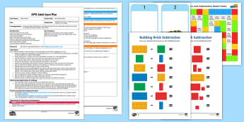EYFS Building Brick Subtraction Adult Input Plan and Resource Pack - Using quantities and objects, add and subtract two single-digit numbers, count on or back to find th